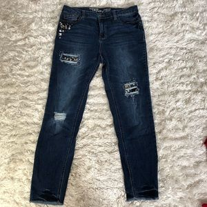 Jeweled and distressed hippie laundry jeans